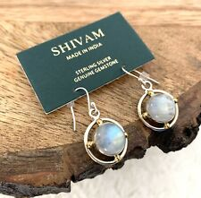 Shivam Silver & Brass Earrings With Rainbow Moon Stone Retail $78 Made In India