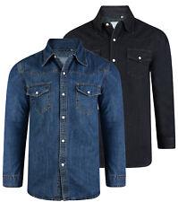 Men's KAM Big Size Western Classic Denim Shirt Cowboy Pearl Buttons  2-8XL
