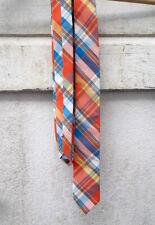 100% Cotton Bright Tartan Checked Necktie Orange Blue Yellow White Pattern Tie