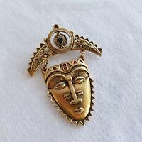 "AVON Vintage V.Large 3"" Tribal Mask Pin/Brooch Mayan Egypt Gold Tone Rhinestones"