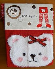 Little Me Teddy Bear Infant Girl's Knit Tights 0-12 Months