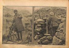 Poilus Soldats Tranchées Fusil Lance-Grenades Arbalète  WWI 1917 ILLUSTRATION