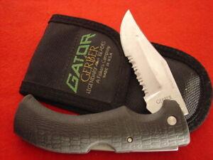 "GERBER Made in USA 5"" Lock Blade 650 Lockback 1st Production GATOR Sheath knife"