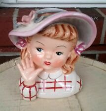 Vintage Lady Head Vase Gorgeous Head Vase BLONDE/BROWN WITH HAT