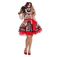 Women's PLUS Day Of The Dead Costume Sugar Skull Dress Muertos 1X 2X 3X 4X 5X