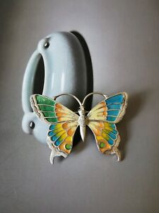 Vintage 925 Silver and Enamel Butterfly Brooch Pin