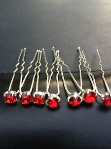 6 Wedding Prom Crystal  Bright Red Diamante Hair Pins Clips Grips