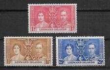 LEEWARD ISLANDS , CORONATION ISSUE,1937, GEORGE VI & ELIZABETH , SET OF 3 , VLH