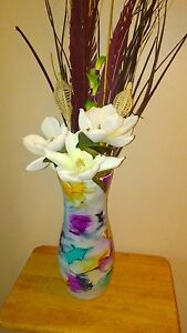 Hand Blown Art Glass Vase 15in tall Multicolored