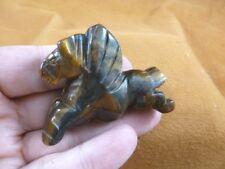 (Y-Peg-Ru-708) Tiger's eye Pegasus flying wings horse Figurine carving gemstone