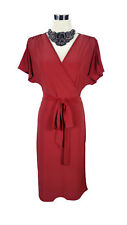 LEONA EDMISTON Dress - Vintage Style Red Wrap Front Dolman Ruched Button- Sz1/10