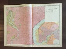 """Large 21"""" X 28"""" COLOR Rand McNally Map of the City of Philadelphia, PA -(1905)"""