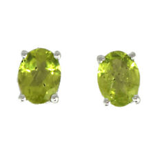 925 Sterling Silver Pretty Peridot Gemstone Earring Studs For Women/Girls