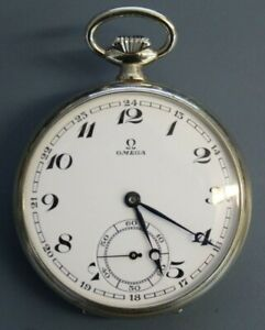 Vintage Omega Open Face Pocket Watch 48mm Diameter 15 Jewels SWISS