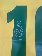More details for pele hand signed name and number 10 1970 brazil shirt coa bid £200 a1 coa