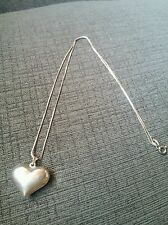 Vintage 925 Sterling Silver Necklace & 3D Puffy Heart Pendant Charm 925 Italy