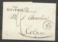 1828 Lettre Marque 66 ROUFFACH 33-11mm HAUT-RHIN(66) Superbe. Ind. 11 X2645