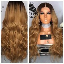 Honey Blonde Ombre Golden Brown Wavy Hair . Lace Front Wig. Human Hair Blend