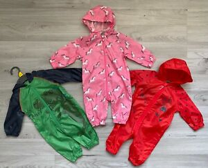 MOTHERCARE Puddlesuits Boys Girls Waterproof Unicorns Dinosaur Kagool Pack NEW