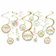 Boho Happy Birthday Party Decorations Wild Child Room Decor Spirals Hanging 1st