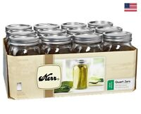 Kerr Wide Mouth Quart Canning Mason Jars, Lids & Bands Clear Glass 32Oz 12-Count