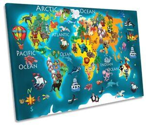 Kids World Map Animals Picture SINGLE CANVAS WALL ART Print Blue