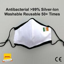 Black Irish Face Mask reusable over 50 times silver-ion cotton face cover CE
