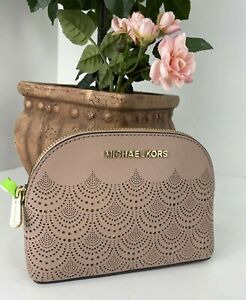 Michael Kors Cosmetic Bag Jet Set Perforated Pale Pink Leather Top Zip M4