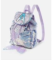 New Justice Girls Flip Sequin Mermaid Initial MINI Backpack / Rucksack!