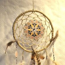 Traumfänger Blume des Lebens Dreamcatcher beige braun Naturfedern Handarbeit TOP