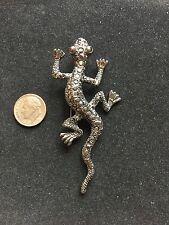 Lizard Gecko Pin Brooch Marcasite Unmarked