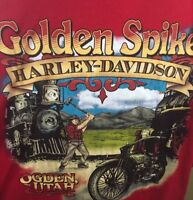 Golden Spike Harley Davidson 2xl T Shirt Red Ogden Utah Train foamer hog