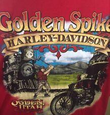 Golden Spike Harley Davidson 2xl T Shirt Red Ogden Utah Train foamer hog