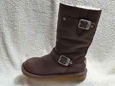 UGG Australia Kids Boots Leather Sheepskin Brown Zip UK 13 EUR 31