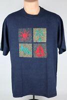 Vintage 1992 Cal-Cru Mens L Myrtle Beach Striped Single Stitch Graphic T Shirt