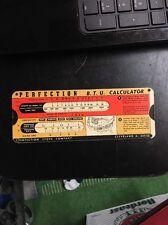 Vintage Perfection Stove Co Slide Rule BTU & Feature Calculator 1940s 50s