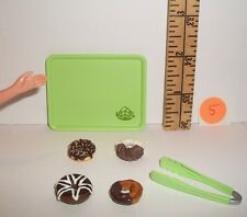 FASHION DOLL MINIATURE RE-MENT 1/6 RETIRED DONUTS TRAY & TONGS FOOD ACCESSORY #5