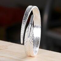 Damen Armband 925 Sterlng Silber Blatt Armreif Frauen Schmuck Geschenk Trend Neu