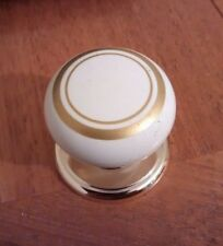 1x White Gold back plate Plastic Door Knob handle Cupboards/Cabinets