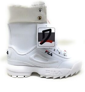 Fila Big Girls Disruptor Shearling Fold Over Winter Boots White Red Blue Size 12