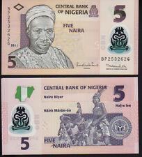 Nigeria 5 NGN 2011 PICK 38b polimero Nuovo di zecca UNC