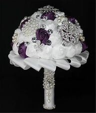 Handmade Bridal Bride Flower Wedding Bouquet Crystal Satin Posy White Purple #1