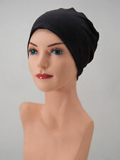 (6) SIX CHEMO CAPS Black LOUNGING SLEEP Hat Cancer Beanie Turban HEADWEAR