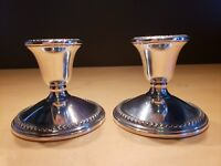 ROGERS Vintage Sterling Silver Weighted Candle Holders Pair Set of 2 #3001