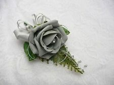 Wedding flower buttonhole grey rose....PIN ON