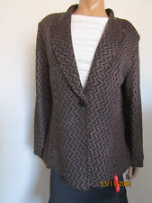 St. John Collection Leather Detail Zig Zag Cardigan Sweater Jacket Size 16 ~NWT~