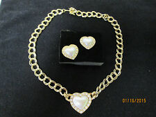 Vintage Avon Gold Tone Faux Pearl Heart Necklace and Earring Set Demi Parure