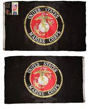 3x5 USMC Marine Corps Black Double Sided 210D Nylon Flag 3'x5' Pin, Clips, Book