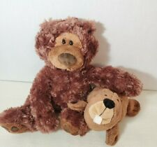 """Lot of 2 Gund Philbin Teddy Bears 18"""" chocolate and 10"""" Scoops Barb Beaver"""