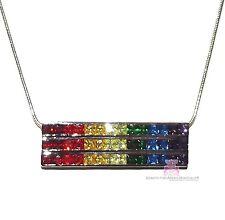 7 Colors Gods Promise Rainbow Cubic Zirconia CZ Triple Multi Row Bar Necklace